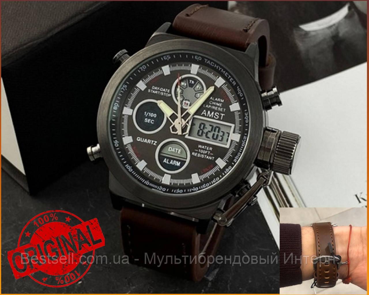 Оригінальні Чоловічі Наручні годинники AMST 3003 Black-Brown Wristband