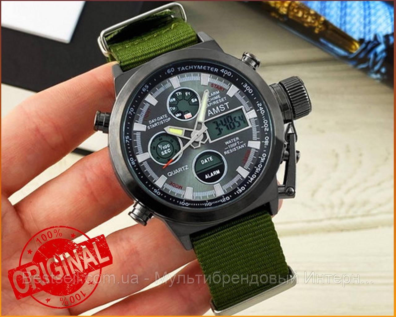 Оригинальные мужские часы AMST 3003 Black-Black Green Wristband