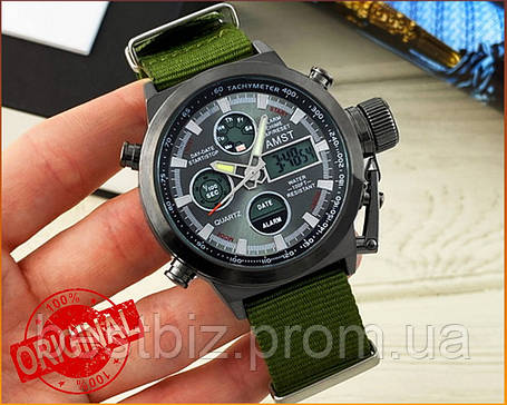 Оригинальные мужские часы AMST 3003 Black-Black Green Wristband, фото 2