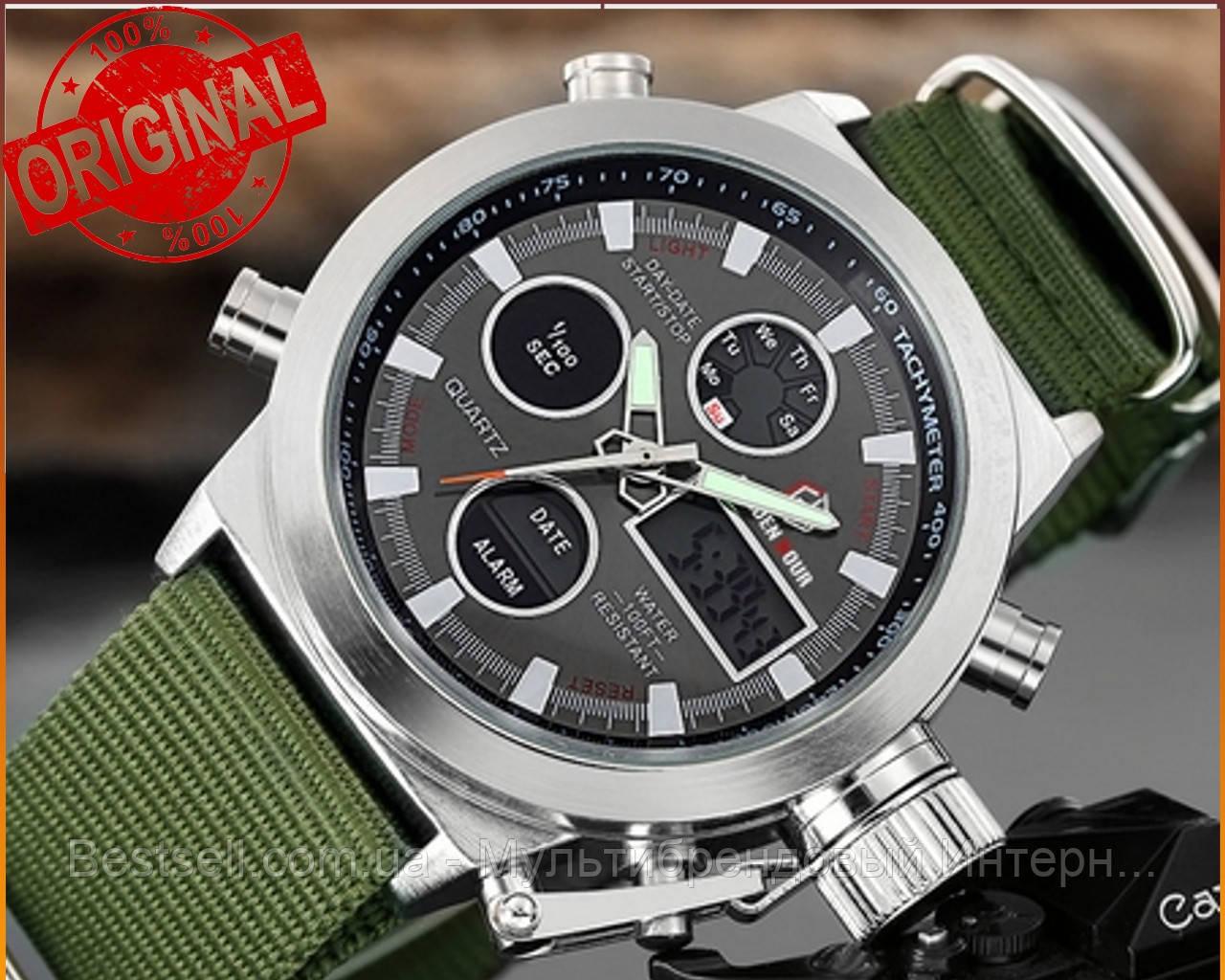 Оригинальные мужские часы AMST 3003 Silver-Black Green Wristband