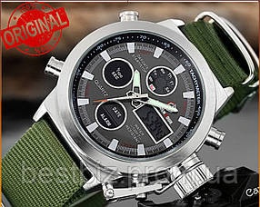 Оригінальні чоловічі годинники AMST 3003 Silver-Black Green Wristband