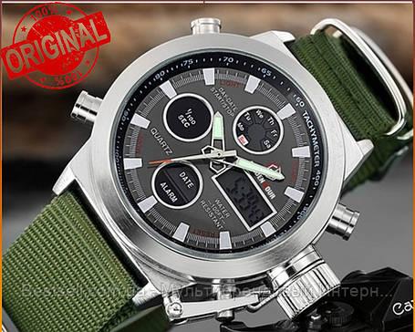 Оригінальні чоловічі годинники AMST 3003 Silver-Black Green Wristband, фото 2