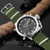 Оригинальные мужские часы AMST 3003 Silver-Black Green Wristband, фото 2