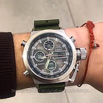 Оригінальні чоловічі годинники AMST 3003 Silver-Black Green Wristband, фото 3