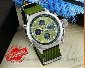 Оригінальні чоловічі годинники AMST 3003 Silver-Green Green Wristband