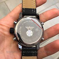 Оригінальні наручні чоловічі годинники AMST 3022 All Black Fluted Wristband, фото 3