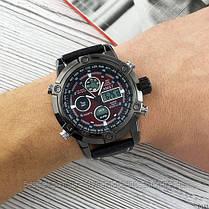 Оригинальные наручные мужские часы AMST 3022 Black-Red Fluted Wristband, фото 2