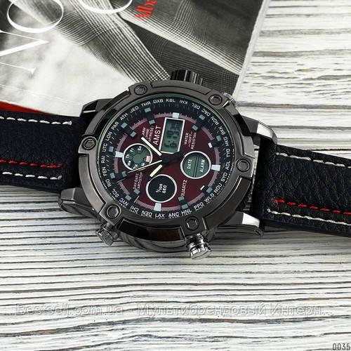 Оригінальні наручні чоловічі годинники AMST 3022 Black-Red Fluted Wristband
