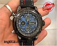 Оригинальные наручные мужские часы AMST 3022 Black-Blue Fluted Wristband
