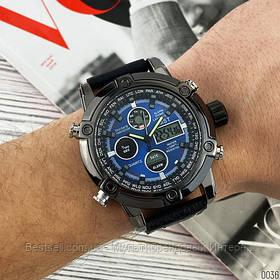 Оригінальні наручні чоловічі годинники AMST 3022 Black-Blue Fluted Wristband