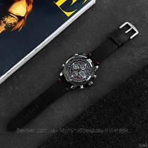 Оригінальні наручні чоловічі годинники AMST 3022 Black-Red Smooth Wristband, фото 2