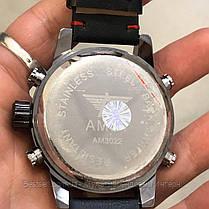 Оригінальні наручні чоловічі годинники AMST 3022 Black-Red Smooth Wristband, фото 3