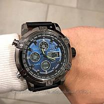 Оригінальні наручні чоловічі годинники AMST 3022 Black-Blue Smooth Wristband, фото 3