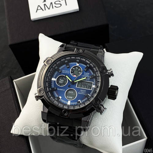 Оригинальные наручные мужские часы AMST 3022 Metall Black-Blue