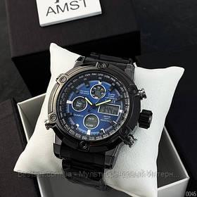 Оригінальні наручні чоловічі годинники AMST 3022 Metall Black-Blue