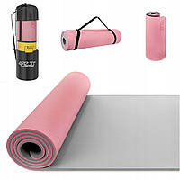 Коврик (мат) для йоги и фитнеса 4FIZJO TPE 1 см 4FJ0200 Pink/Grey, фото 1