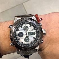 Оригінальні наручні чоловічі годинники AMST 3022 Metall Silver-Black-Silver, фото 3