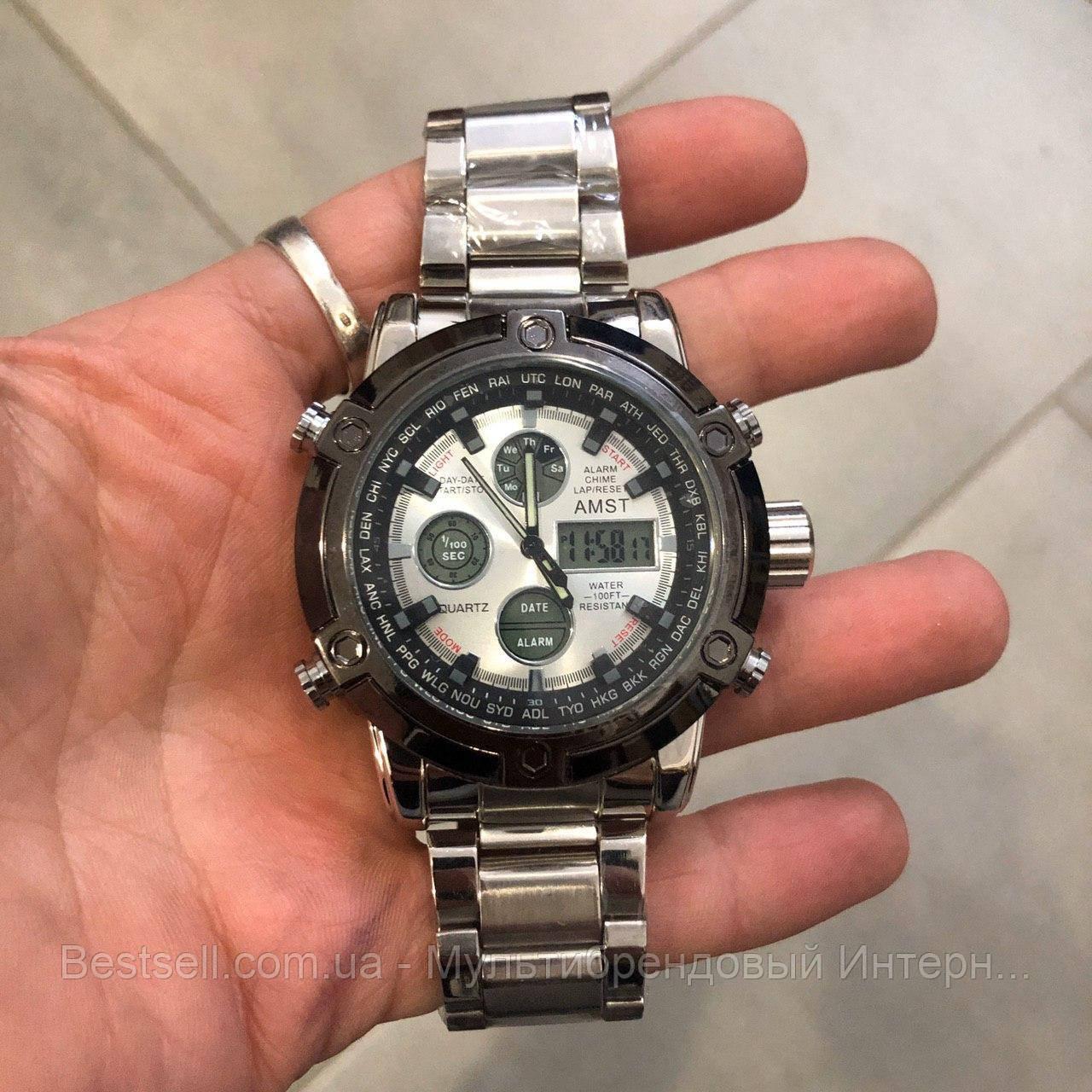 Оригинальные наручные мужские часы AMST 3022 Metall Silver-Black-Silver