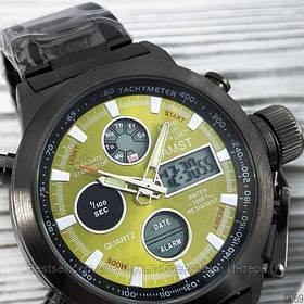 Оригінальні чоловічі годинники сталевий ремінець AMST 3003 Black-Green Metall