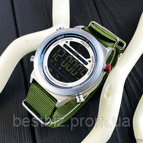 Наручний годинник електронні оригінальні AMST 3017 Silver-White-Green Wristband