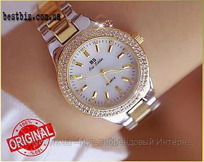 Жіночі годинники кварцові оригінал Bee Sister 1258 Gold-Silver-White Diamonds (відеоогляд в описі)