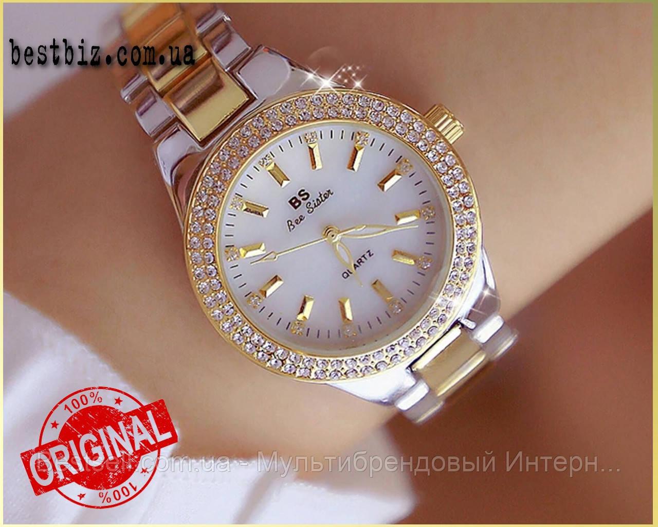 Женские часы кварцевые оригинал Bee Sister 1258 Gold-Silver-White Diamonds (видеообзор в описании)