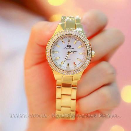 Женские часы кварцевые оригинал Bee Sister 1258 Gold-White Diamonds (видеообзор в описании)
