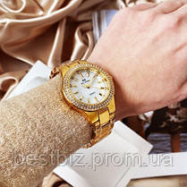 Женские часы кварцевые оригинал Bee Sister 1258 Gold-White Diamonds (видеообзор в описании), фото 2