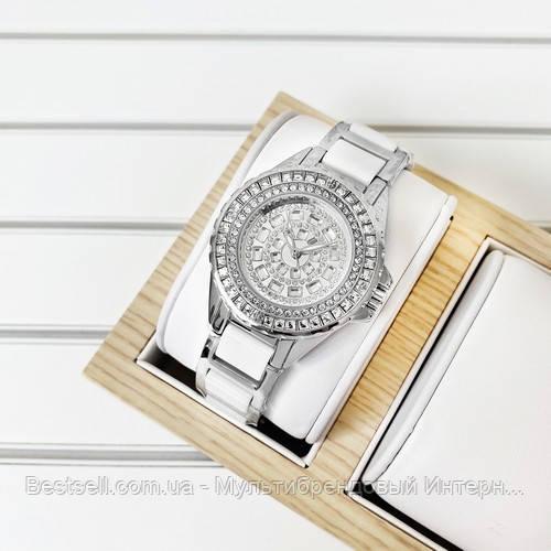 Женские часы кварцевые оригинал Bee Sister 1490 Silver-White Diamonds