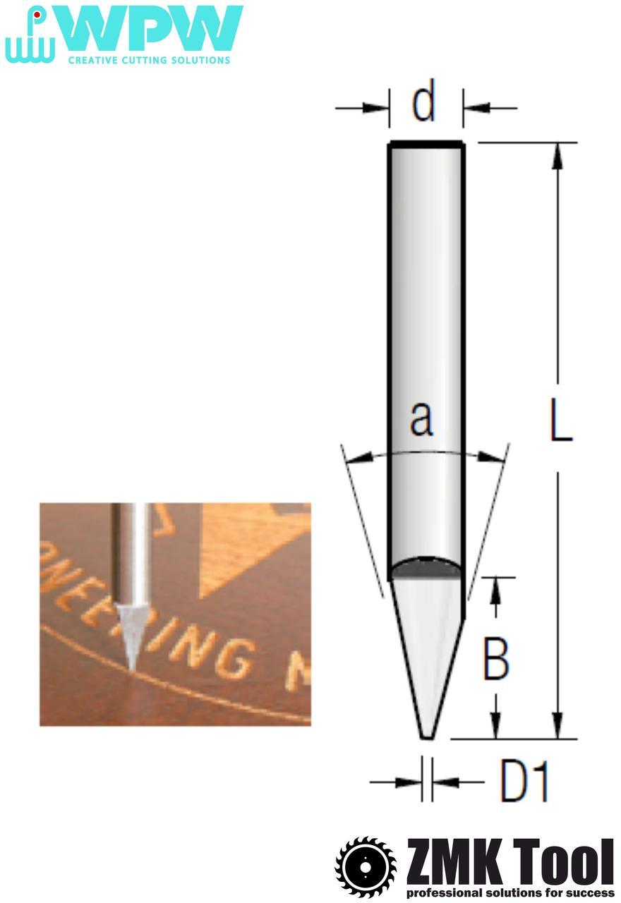 Фреза WPW гравіювальна монолітна α=30° d=6 D1=0,1 L=50 B=14