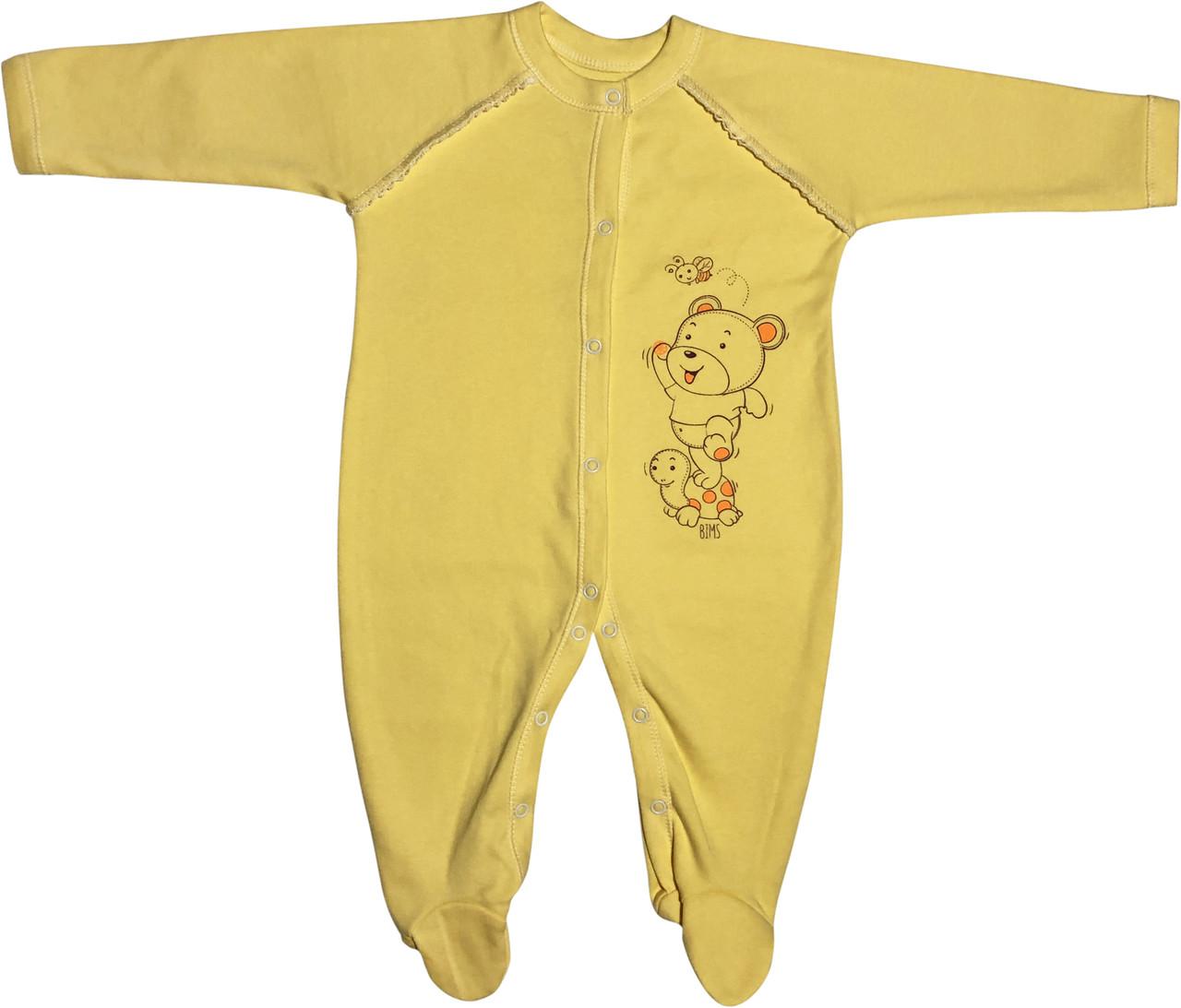 Тёплый человечек слип с начёсом для новорожденных рост 74 6-9 мес на мальчика девочку трикотажный жёлтый