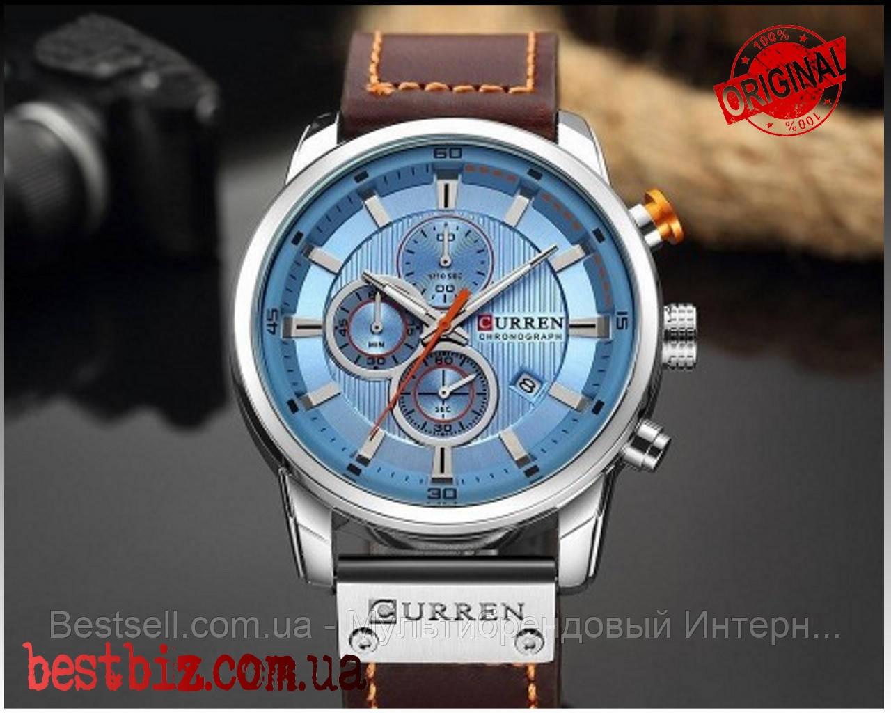 Оригинальные мужские часы кожаный ремешок  Curren 8291 Silver-Blue