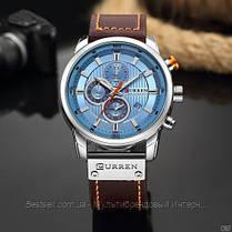 Оригинальные мужские часы кожаный ремешок  Curren 8291 Silver-Blue, фото 3
