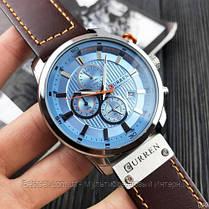 Оригинальные мужские часы кожаный ремешок  Curren 8291 Silver-Blue, фото 2