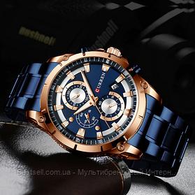 Оригінальні чоловічі годинники хронограф сталевий ремінець Curren 8360 Blue-Gold / Годинник оригінал паління від різних фірм.