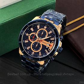 Оригінальні чоловічі годинники сталевий ремінець Curren 8337 Blue-Cuprum / Годинник паління від різних фірм.