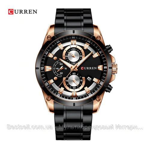 Оригінальні чоловічі годинники сталевий ремінець Curren 8360 Black-Gold / Годинник оригінал паління від різних фірм.