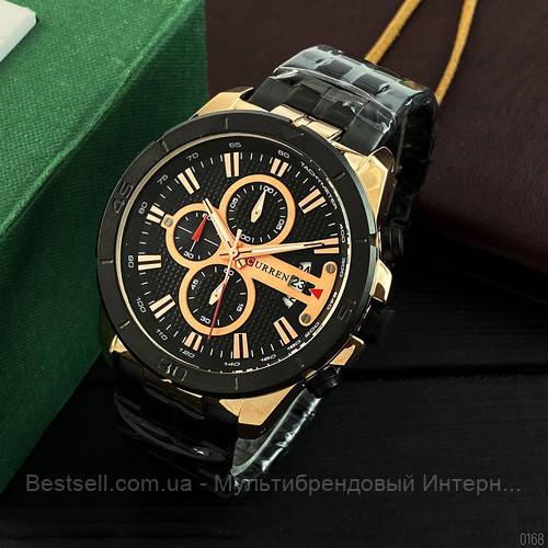 Оригінальні чоловічі годинники сталевий ремінець Curren 8337 Black-Cuprum / Годинник паління від різних фірм.