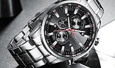 Оригінальні чоловічі годинники сталевий ремінець Curren 8351 Silver-Black / Годинник паління від різних фірм., фото 2