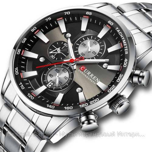 Оригинальные мужские часы стальной ремешок  Curren 8351 Silver-Black / Часы Курен