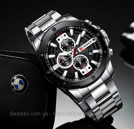 Оригинальные мужские часы стальной ремешок Curren 8336 Silver-Black / Часы Курен