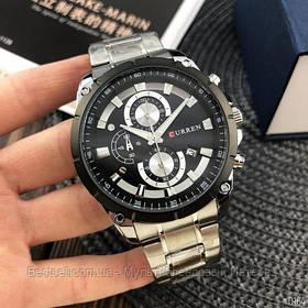 Оригинальные мужские часы стальной ремешок  Curren 8360 Silver-Black / Часы Курен