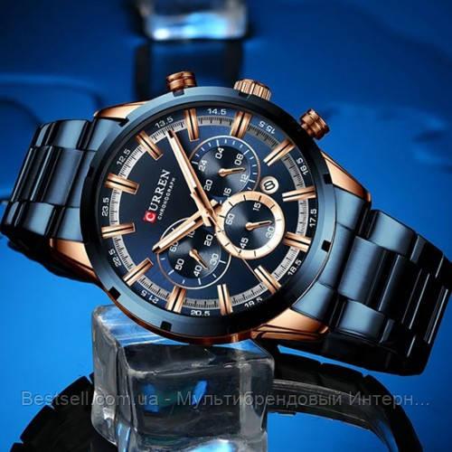 Оригінальні чоловічі годинники сталевий ремінець Curren 8355 Blue-Cuprum / Годинник паління від різних фірм.