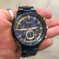 Оригінальні чоловічі годинники сталевий ремінець Curren 8355 Blue-Cuprum / Годинник паління від різних фірм., фото 3