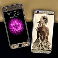 Защитное стекло для iPhone 5/5s Engraved Girl переднее + заднее