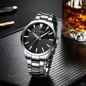 Оригінальні чоловічі класичні годинник сталевий ремінець Curren 8322 Silver-Black / Годинник паління від різних фірм.
