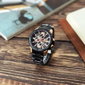 Оригінальні чоловічі годинники хронограф сталевий ремінець Curren 8336 Black-Cuprum / Годинник паління від різних фірм.