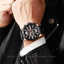 Оригинальные мужские часы хронограф стальной ремешок Curren 8336 Black-Cuprum / Часы Курен, фото 2