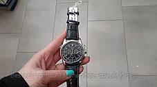 Оригинальные мужские наручные часы кожаный ремешок  Forsining 319 Black-Silver-Black, фото 3