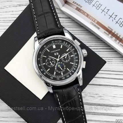 Оригинальные мужские наручные часы кожаный ремешок  Forsining 319 Black-Silver-Black, фото 2
